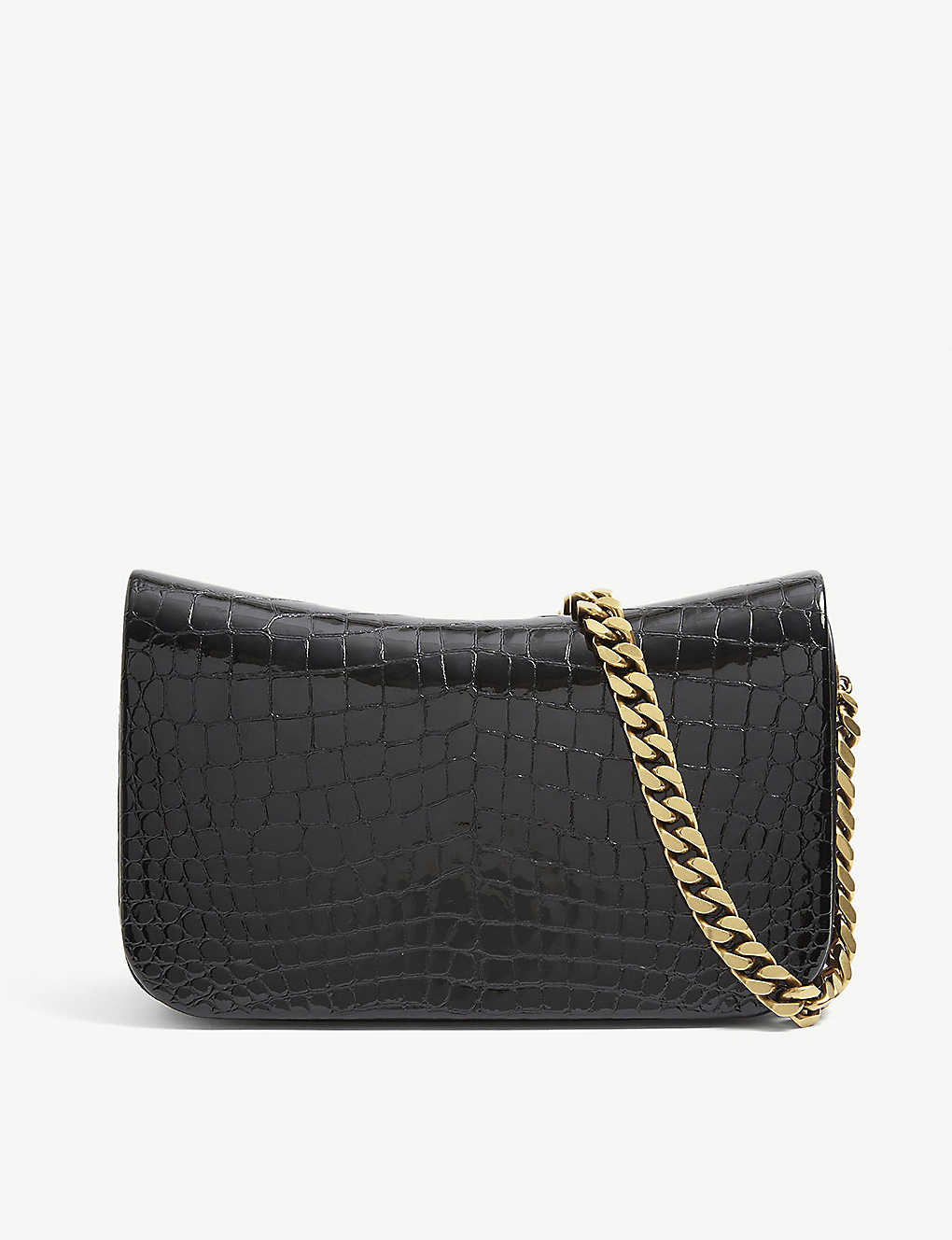 SAINT LAURENT: Elise crocodile-embossed leather shoulder bag