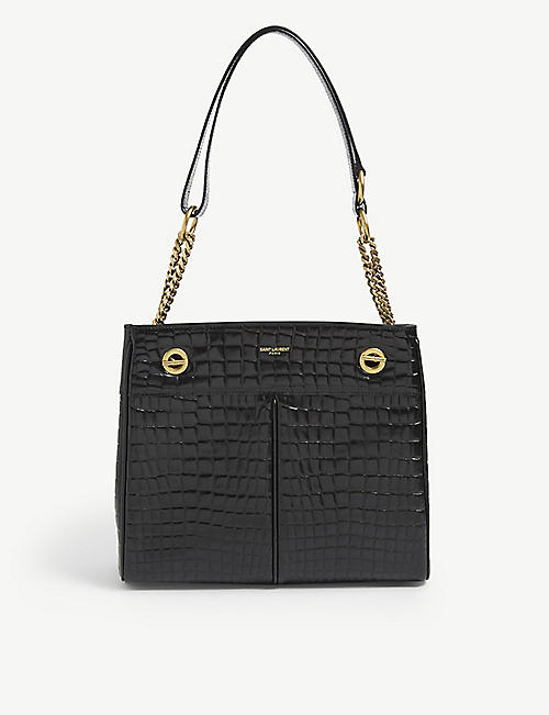 SAINT LAURENT: Claude croc-embossed leather tote bag