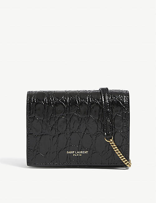 SAINT LAURENT: Monogram mini croc-embossed leather card case-on-chain