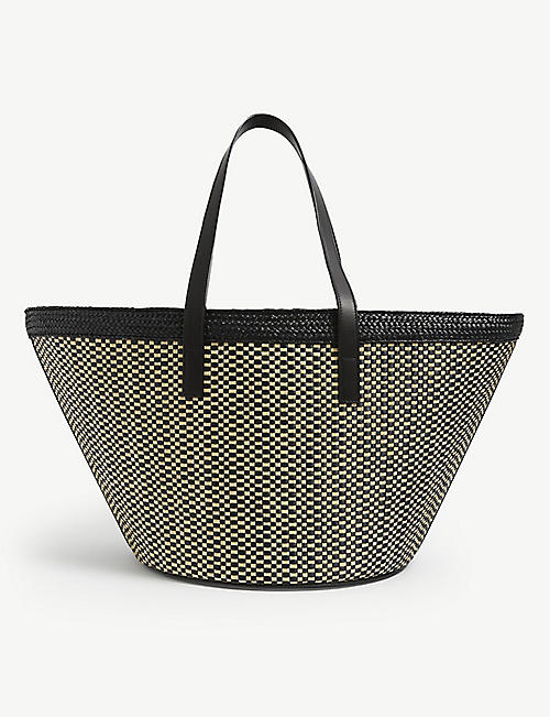 SAINT LAURENT: Panier raffia tote bag
