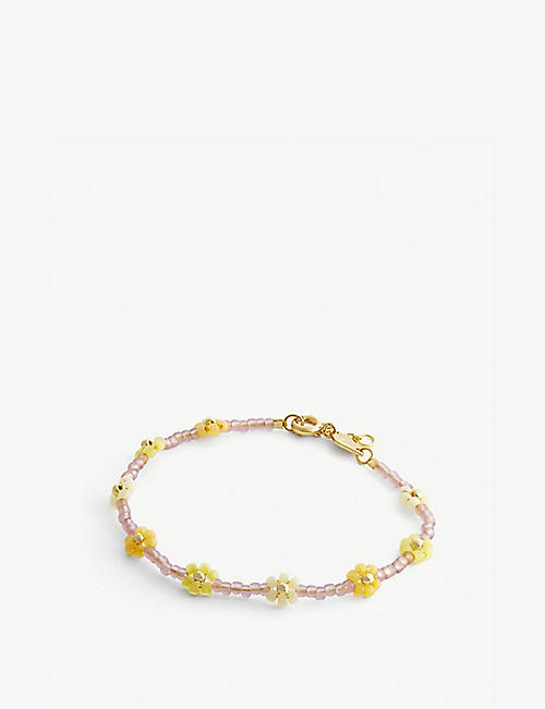ANNI LU: Petals seed beaded and 18ct gold-plated brass bracelet