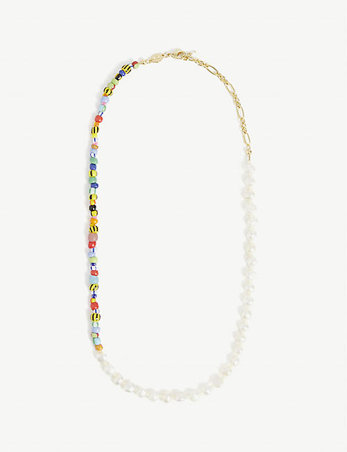 ANNI LU: Pearly Alaia 18ct gold-plated brass, glass beads and freshwater pearls necklace