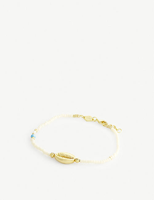 ANNI LU: Wave Chaser 18ct gold-plated vermeil brass and freshwater pearl bracelet
