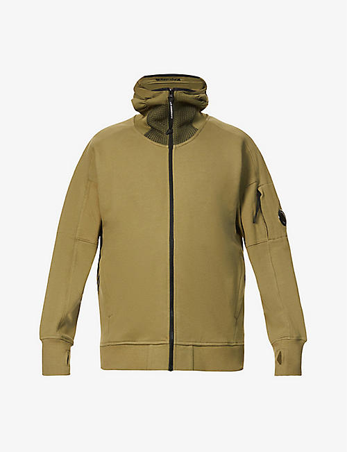 CP COMPANY: Brand-patch zipped cotton hoody