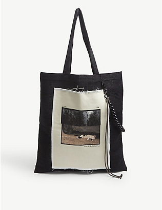 SONG FOR THE MUTE: Graphic-print nylon tote bag