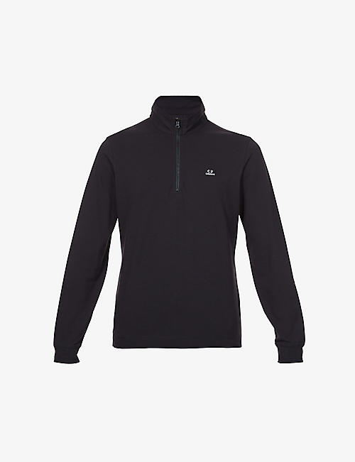 CP COMPANY: Funnel neck stretch-cotton sweatshirt