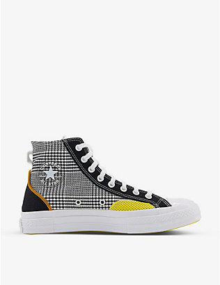 CONVERSE: All Star 70 houndstooth-print high-top canvas trainers