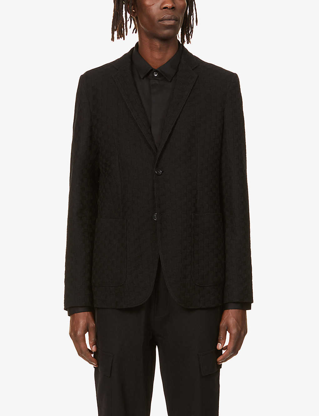 EMPORIO ARMANI: Single-breasted wool and cotton-blend blazer