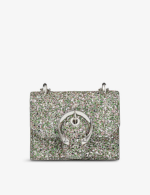 JIMMY CHOO: Paris mini coarse glitter cross-body bag