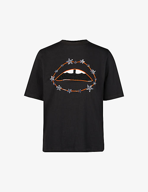 MARKUS LUPFER: Nicola lip and star-embroidered cotton-jersey T-shirt