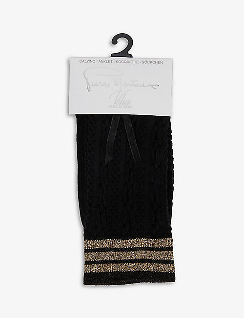 PIERRE MANTOUX: Jack cable-knit cotton-blend socks