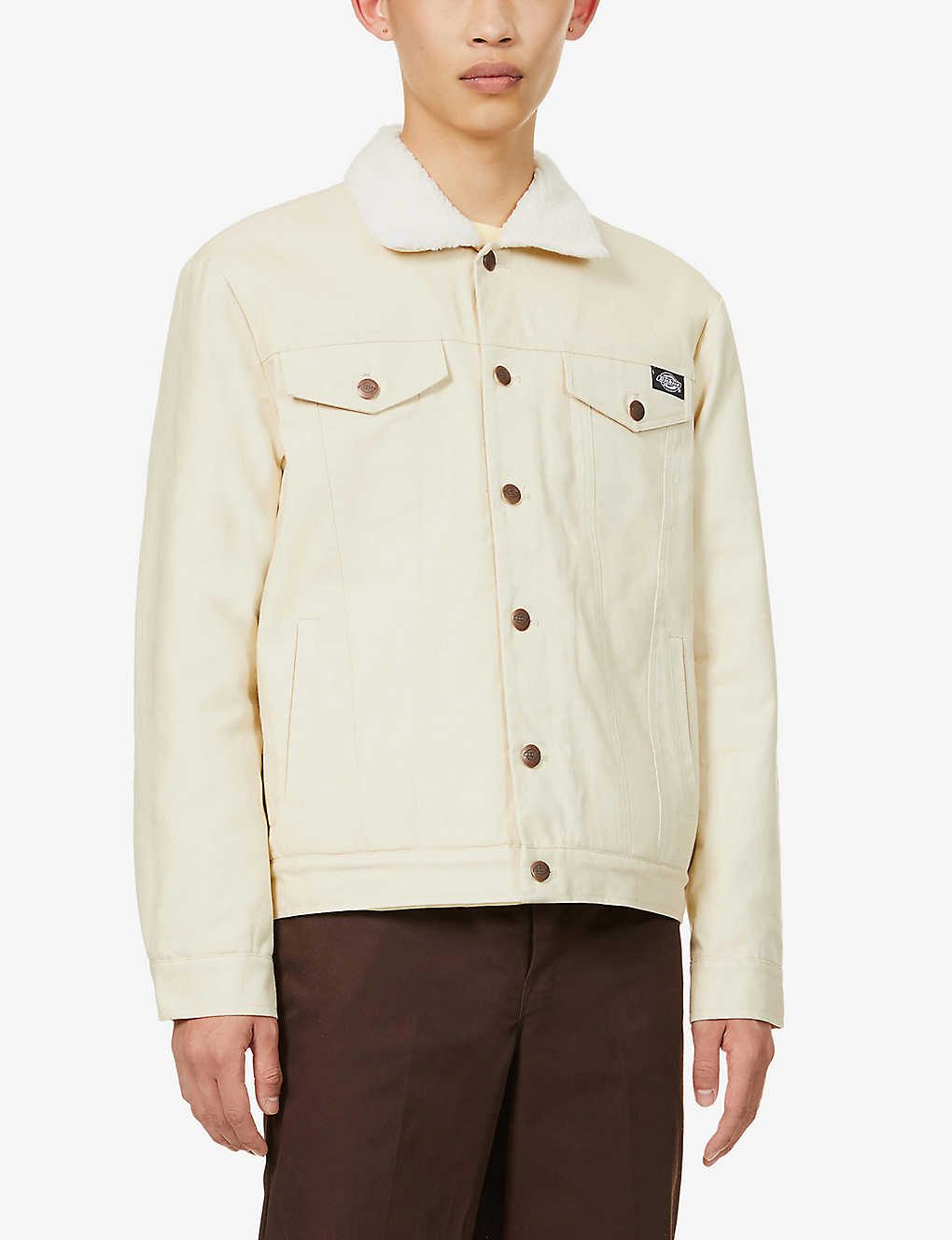 DICKIES: Marksville faux shearling-lined cotton-drill trucker jacket