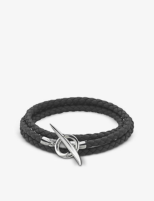 SHAUN LEANE: Quill sterling-silver and braided leather bracelet