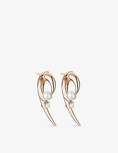 SHAUN LEANE: Cherry Blossom rose gold-plated vermeil silver and pearl earrings