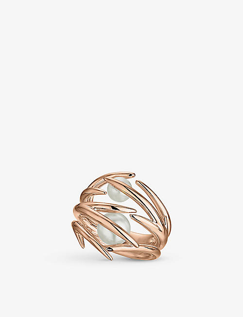 SHAUN LEANE: Cherry Blossom rose gold-plated vermeil silver and pearl ring