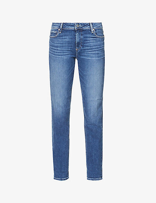 PAIGE: Brigitte tapered mid-rise cotton-blend denim jeans
