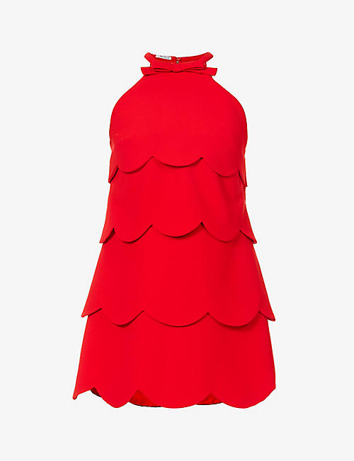 MIU MIU: Faille Cady scallop-tiered crepe mini dress