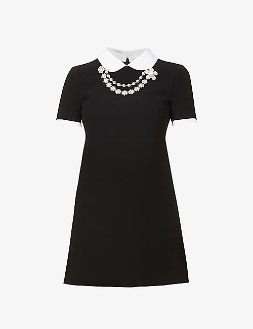 MIU MIU: Peter Pan collar crepe mini dress