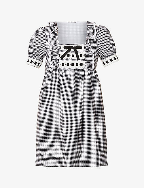 MIU MIU: Bow-trimmed gingham cotton mini dress