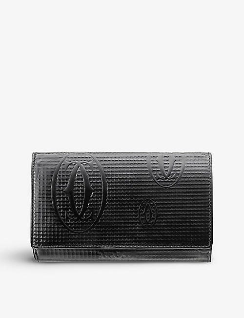 CARTIER: Happy Birthday honeycomb-textured patent-leather wallet