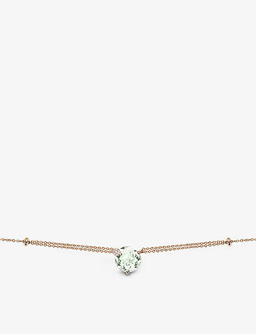 BUCHERER FINE JEWELLERY: Peekaboo 18ct rose-gold, prasiolite and diamond necklace