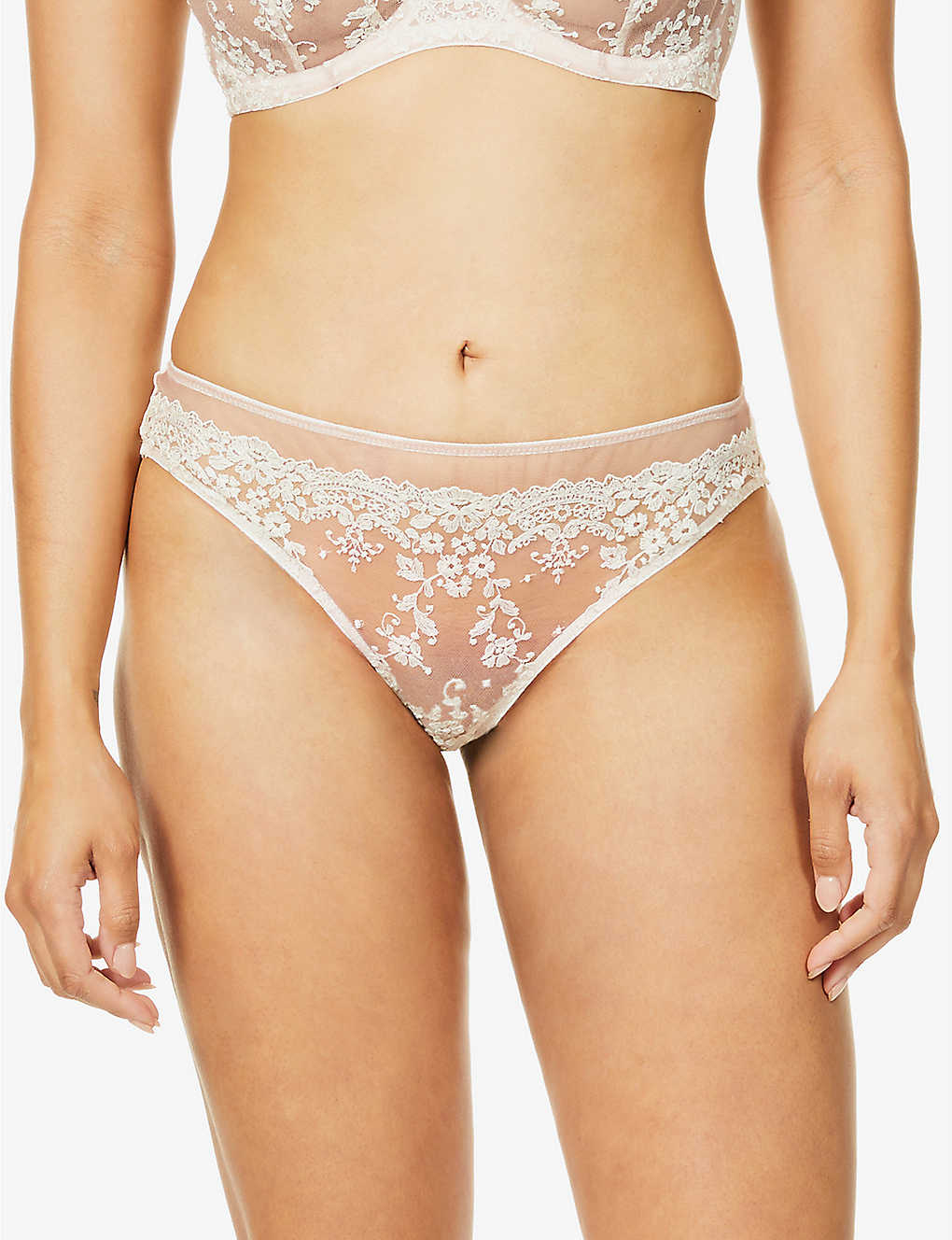 KATHERINE HAMILTON: Abrielle floral-embroidered mesh briefs