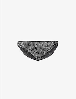 KATHERINE HAMILTON: Vivian floral-embroidered high-rise mesh briefs