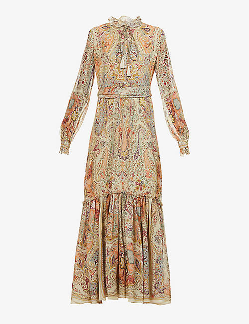 ETRO: Paisley-print frill-trimmed silk maxi dress
