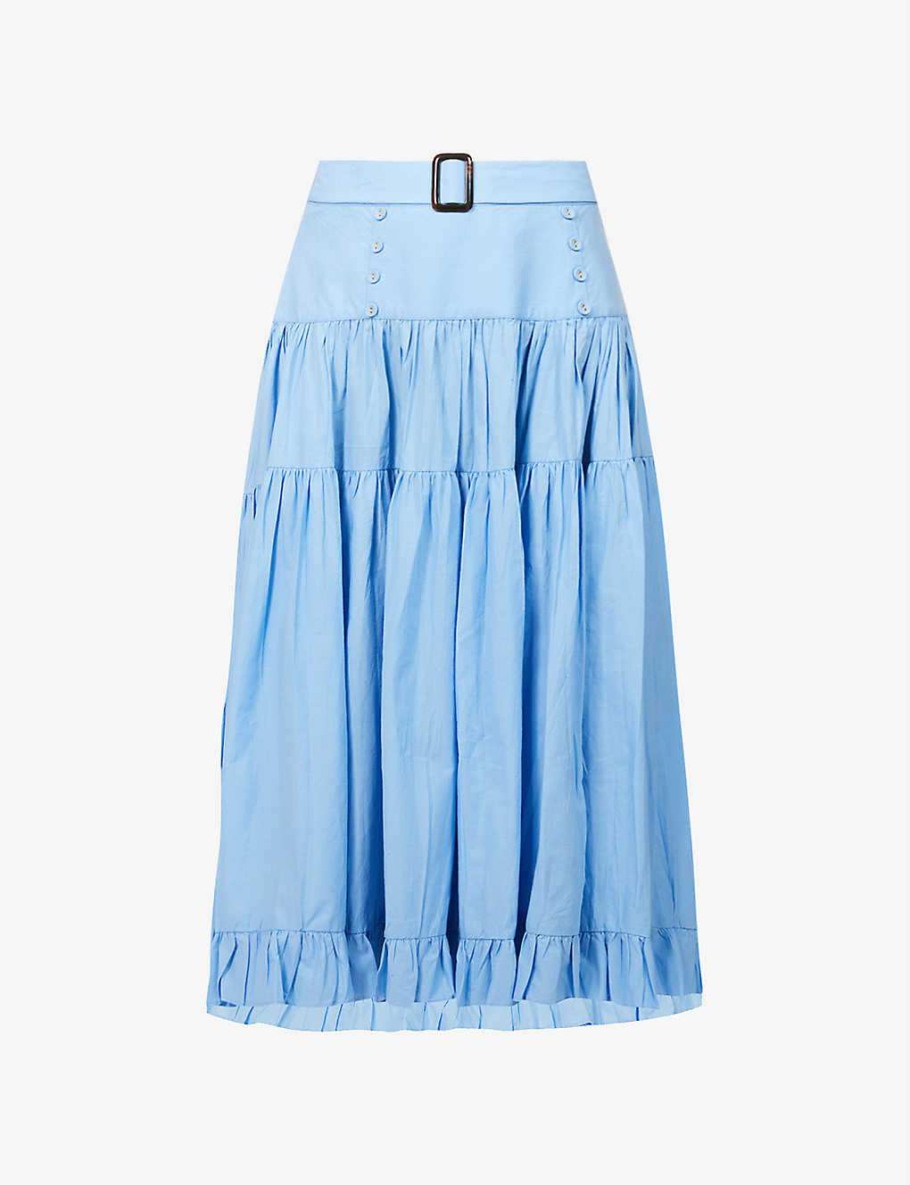 ALEXANDRA MIRO: Penelope tiered high-rise cotton maxi skirt