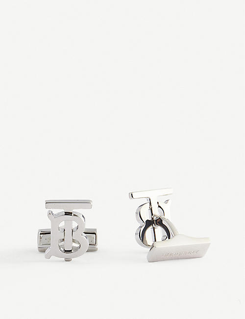 BURBERRY: Logo-engraved palladium-plated brass cuff links