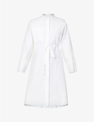 RITO: Belted cotton midi shirt dress