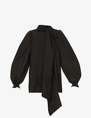 RITO: Neck-tie pleated wool-blend blouse