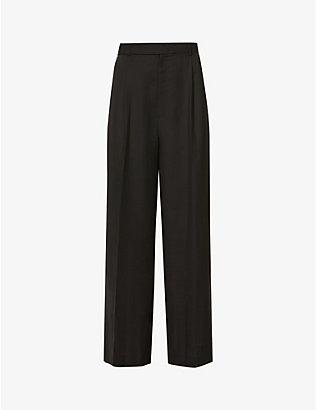 RITO: Belted wide-leg high-rise wool-blend trousers