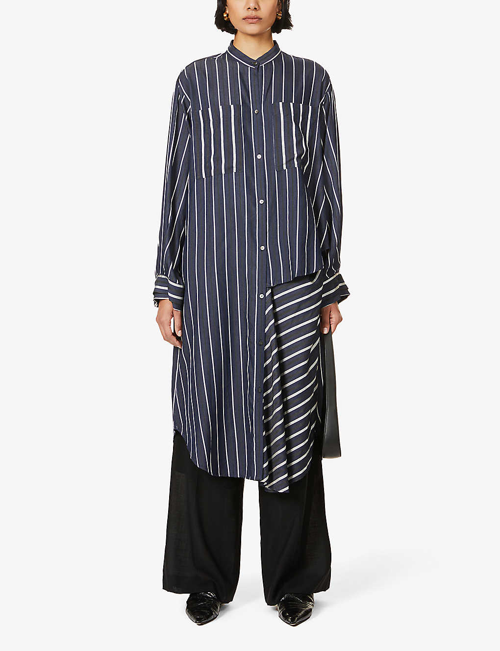 RITO: Striped cotton-twill shirt dress