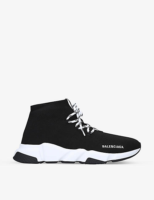 BALENCIAGA: Speed Knit lace-up mid-top trainers