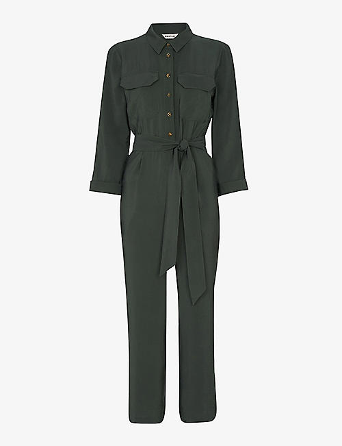 WHISTLES: Lacey waist-tie utility crepe jumpsuit