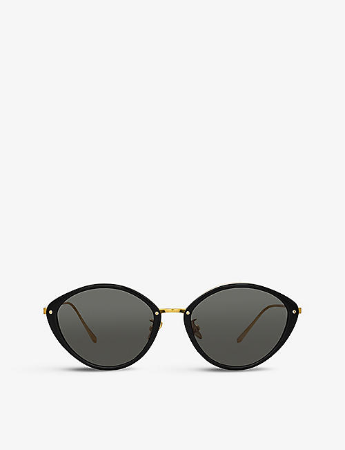 LINDA FARROW: 1086 C1 Lucy 22ct gold-plated titanium and recycled-acetate cat eye-frame sunglasses