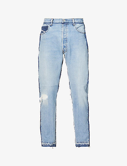READYMADE: Distressed mid-rise tapered jeans
