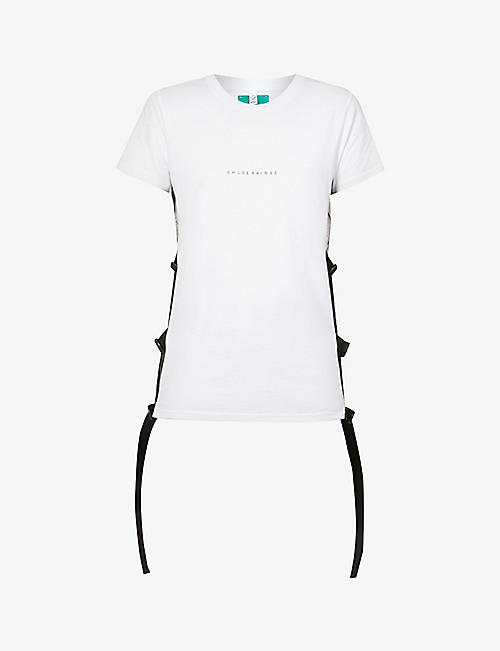 CHLOE BAINES: Joseph mesh and side-buckle organic cotton T-shirt
