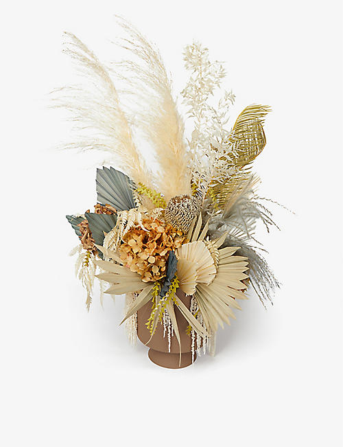 YOUR LONDON FLORIST: Exclusive Desert Taupe dried bouquet with metal vase