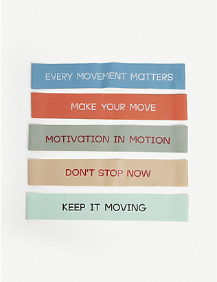 BALA: Slogan-print resistance bands pack of five