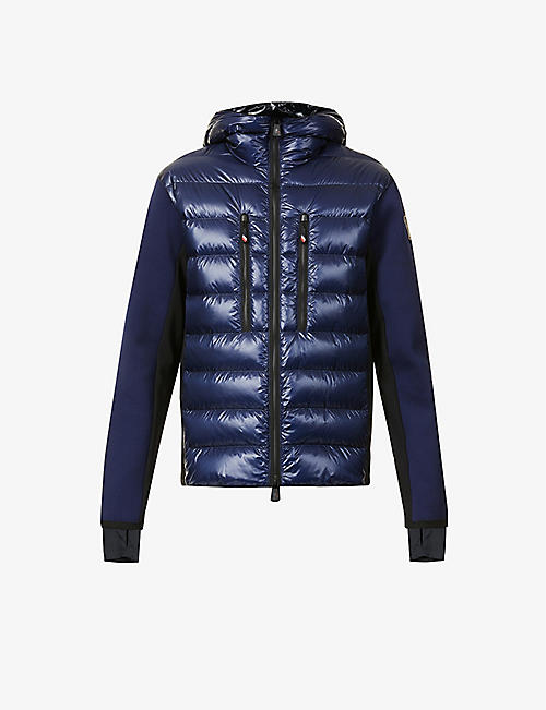 MONCLER GRENOBLE: Contrast-panel high-neck shell-down jacket