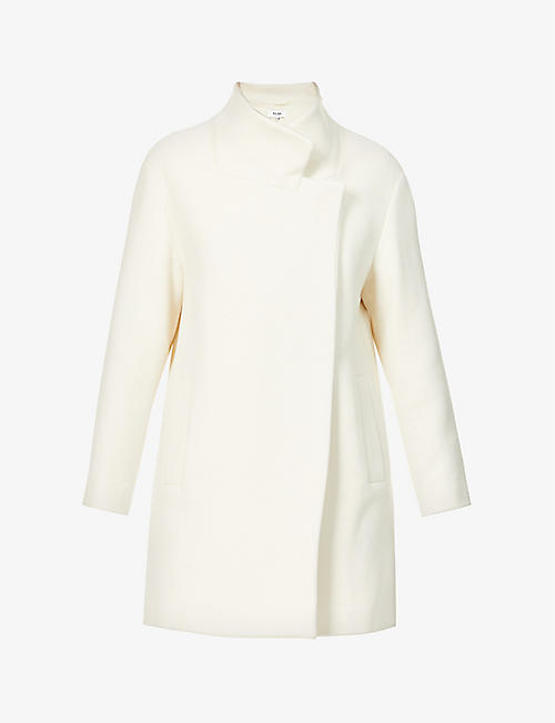 REISS: Sicily wrap-over front wool-blend coat