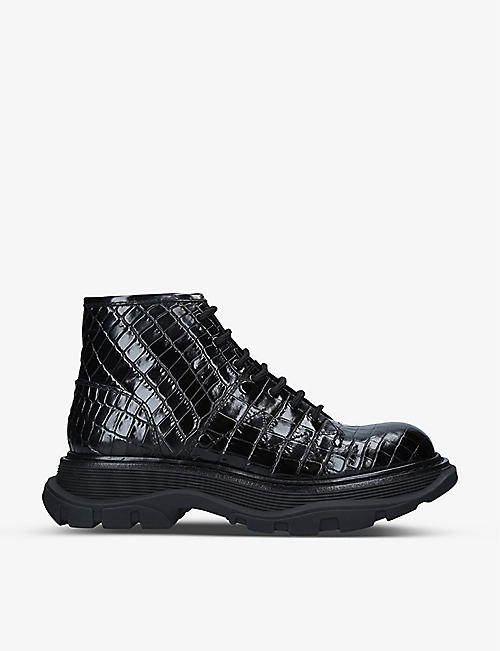 ALEXANDER MCQUEEN: Tread lace-up croc-embossed leather boots
