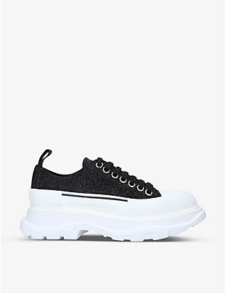 ALEXANDER MCQUEEN: Women's Tread cotton-canvas low-top trainers