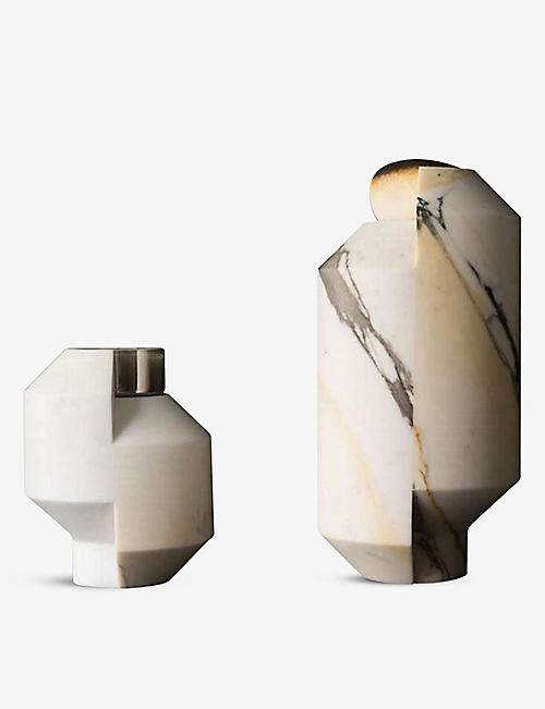 OOUMM: Toucana Tall Paonazzo marble candle holder 24cm