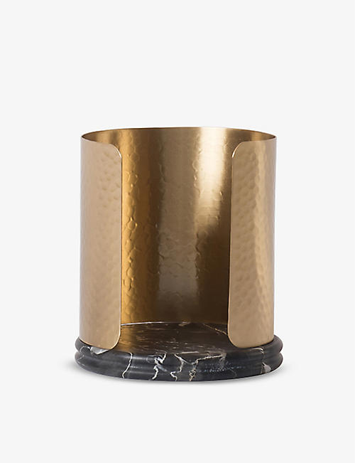 OOUMM: Cassiopee Portoto marble and brass candle holder 14cm