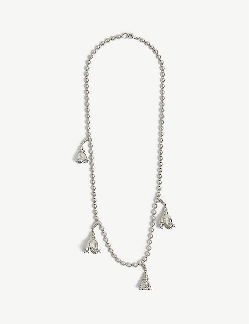 FENTY: Psyche flower charm silver-toned bead chain necklace