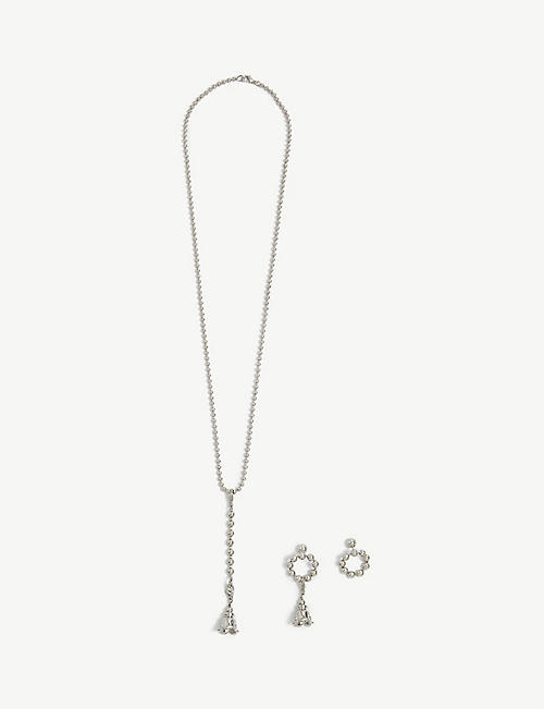 FENTY: Psyche flower charm silver-toned bead earrings and chain set