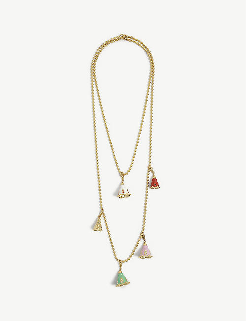 FENTY: Psyche flower charm gold-toned bead necklace